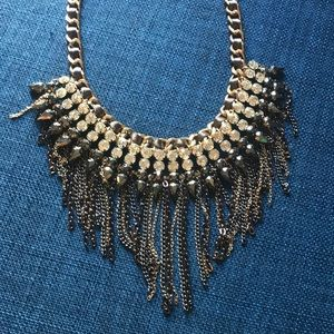 Crystal Accent Braided Ribbon Statement Necklace